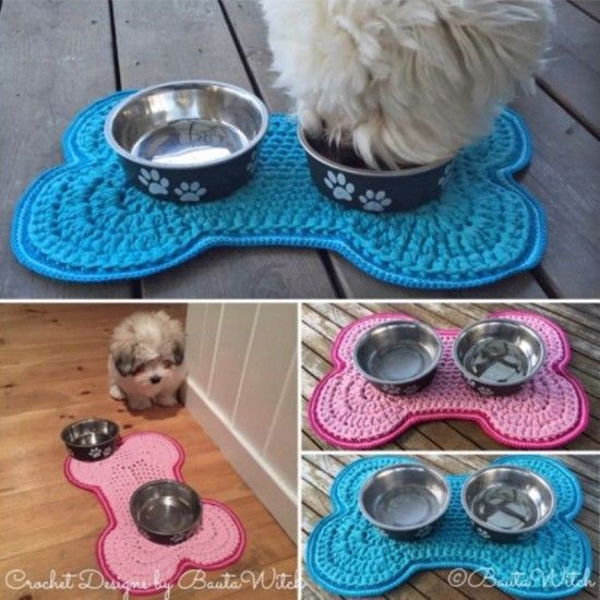 Crochet Dog Bowl Mat Free Pattern - check out all the other gorgeous Dog Crochet Free Patterns too including Bandanas and Dog Clothes.