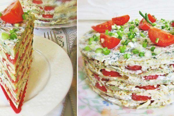 Закусочный тортик из кабачков. Смакота ! — БУДЬ В ТЕМЕ