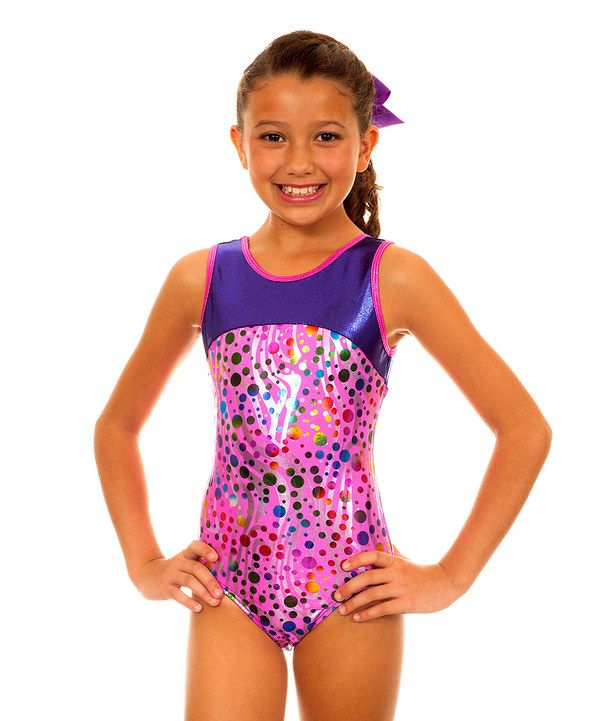 Look at this TumbleWear Pink & Purple Party Makenna Leotard - Girls on #zulily today!