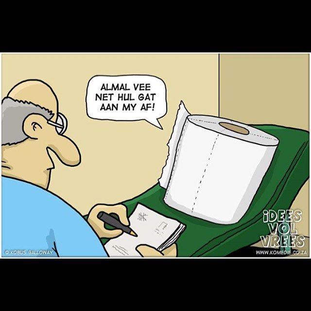 Naweek snaaksie!  #gat #vee #kakpapier #sielkundige #ideesvolvrees #ivv  Kry 'n IVV spotprent vir jou besigheid by kobus@komedie.co.za