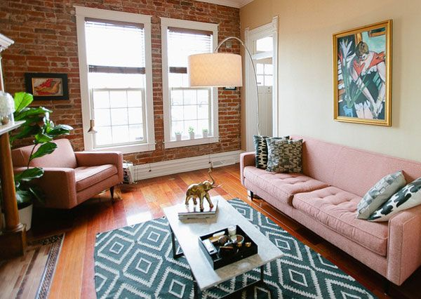 sofa and chair Room and Board Reese (Color Spice) denver-living-room-cozy-west-elm-rug-coffee-table