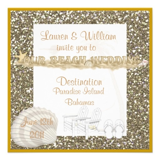 Elegant Wedding Invitations With Crystals: ELEGANT CRYSTAL Beach Wedding Invitations