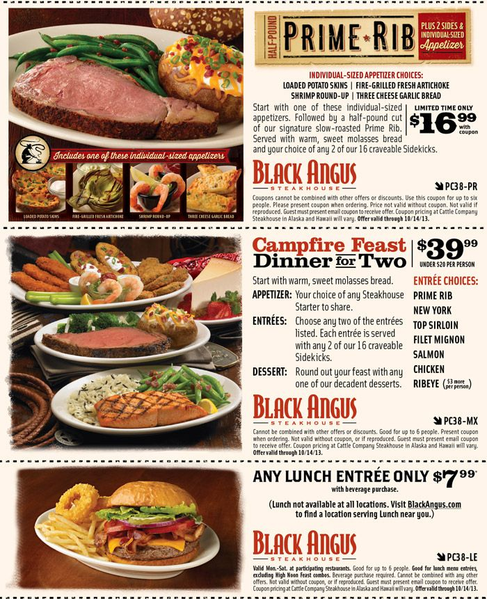 Black Angus: 3 Printable Coupons http://www.pinterest.com/TakeCouponss/black-angus-coupons/