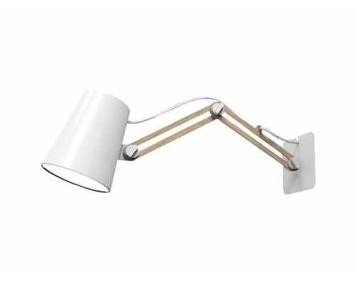 Jasno drewniana lampa z białym abażurem