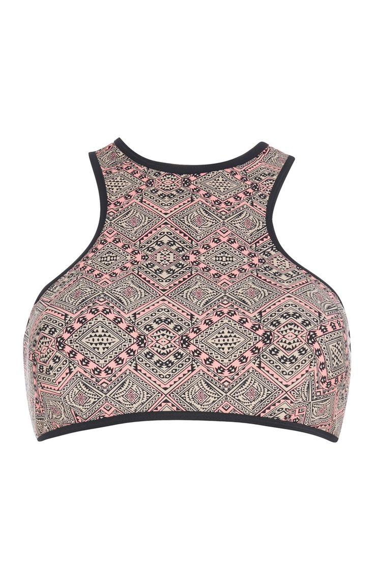 Primark - Zipped Aztec Crop Bikini Top