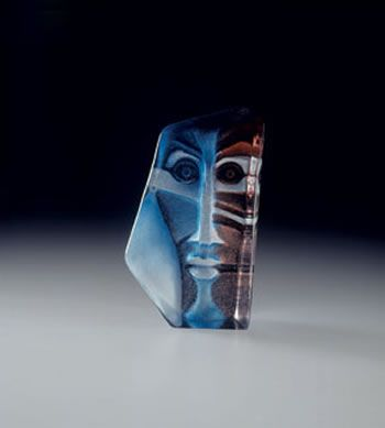 Zador Swedish Crystal Mask Sculpture by artist Mats Jonasson available for Sale at AllSculptures.com
