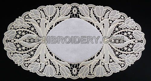 Freestanding lace tulip doily
