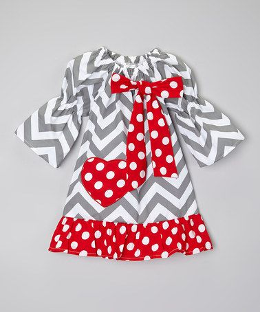 Love this Gray & Red Chevron Heart Valentine Dress - Toddler & Girls by Sweet Cheeks on #zulily! #zulilyfinds