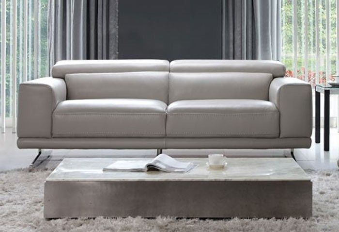Moroni - Blair Leather Studio Sofa in Ash Grey - 567 | MORONI ...