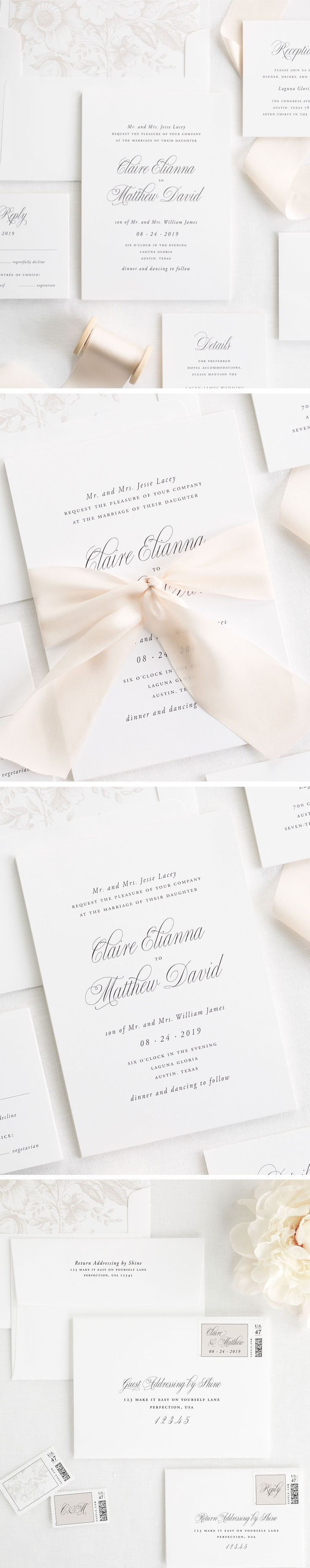 Classic and Elegant Garden Inspired Wedding Invitations. Shine offers completely customizable wording of your choice and over 40+ colors from our shine colors! Our Garden Elegance Wedding Suite is on white matte paper with a floral envelope liner in mocha