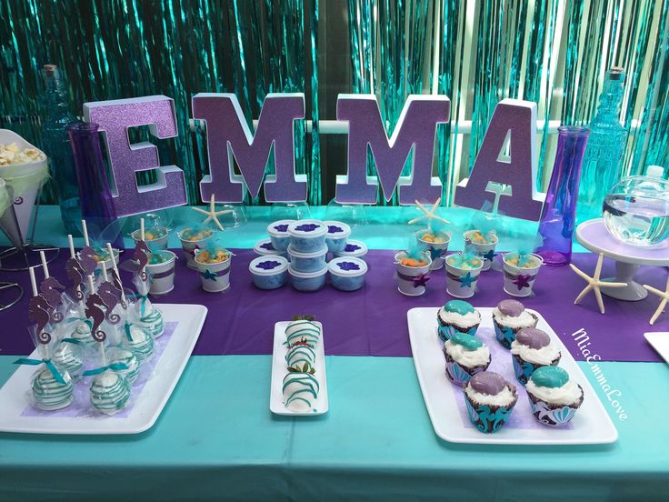 #MiaEmmaLove Mermaid/Under the Sea theme party decor.  (turquoise/teal and purple color scheme)  You can visit my Facebook page @Mia&EmmaLove for details and/or pricing.