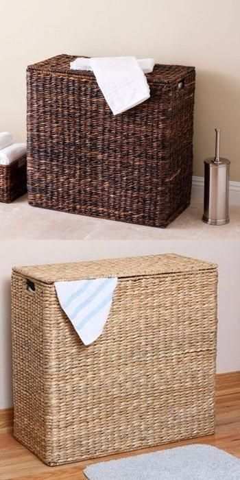 Keep your laundry neat and organized with the Sofia + Sam® Divided Hamper.  The oversized hamper is hand-woven of natural, sustainable Seagrass or Abaca fibers* and includes two removable cotton canvas liners.