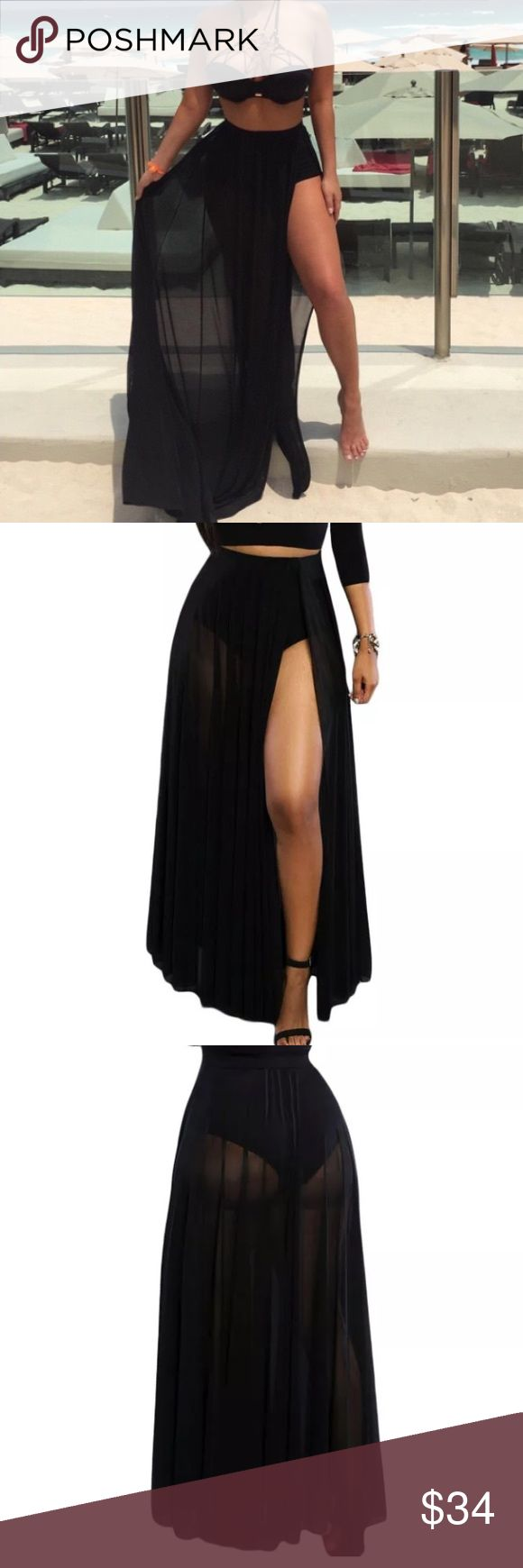 Black sheer maxi skirt Brand new boutique style maxi skirt. The slit design reveals just enough leg while silky fluid fabric gives it a glamorous, on-trend finish . Has elastic waistband, sheer overlay with front slit and high-waist panties attached in one piece. Perfect for those summer vacations. Skirts Maxi