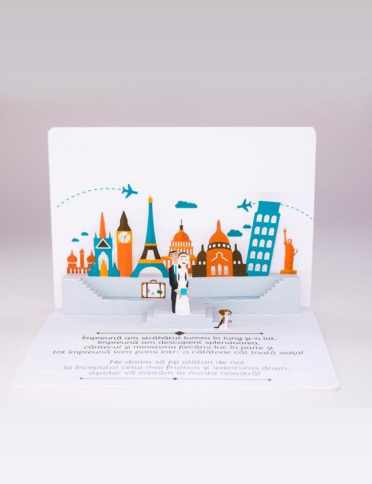 Invitaţie 3D Travel Pop-up wedding invitations!