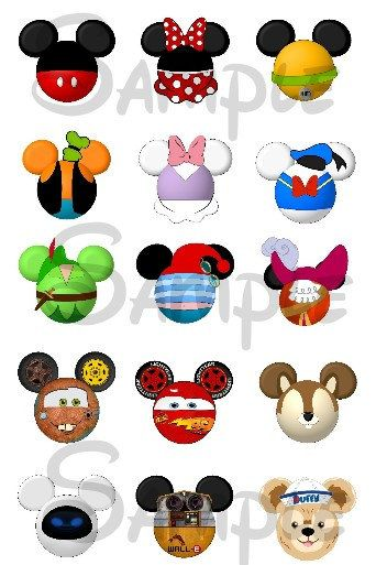 "Various character inspired Mickey head DIGITAL Bottle Cap image sheet 4x6 1"" inch  DIY"