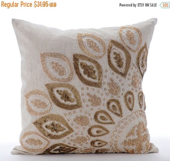 15% YEAR END SALE Natural For all those Zardozi lovers - Gold Charm - 16x16 Linen Throw Pillow Cover which has been Embroidered with a Gold Zardozi pattern. Shop Now!