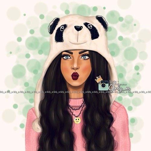 Girly m drawing art girl brunette cute pandahat for Girly tumblr drawings