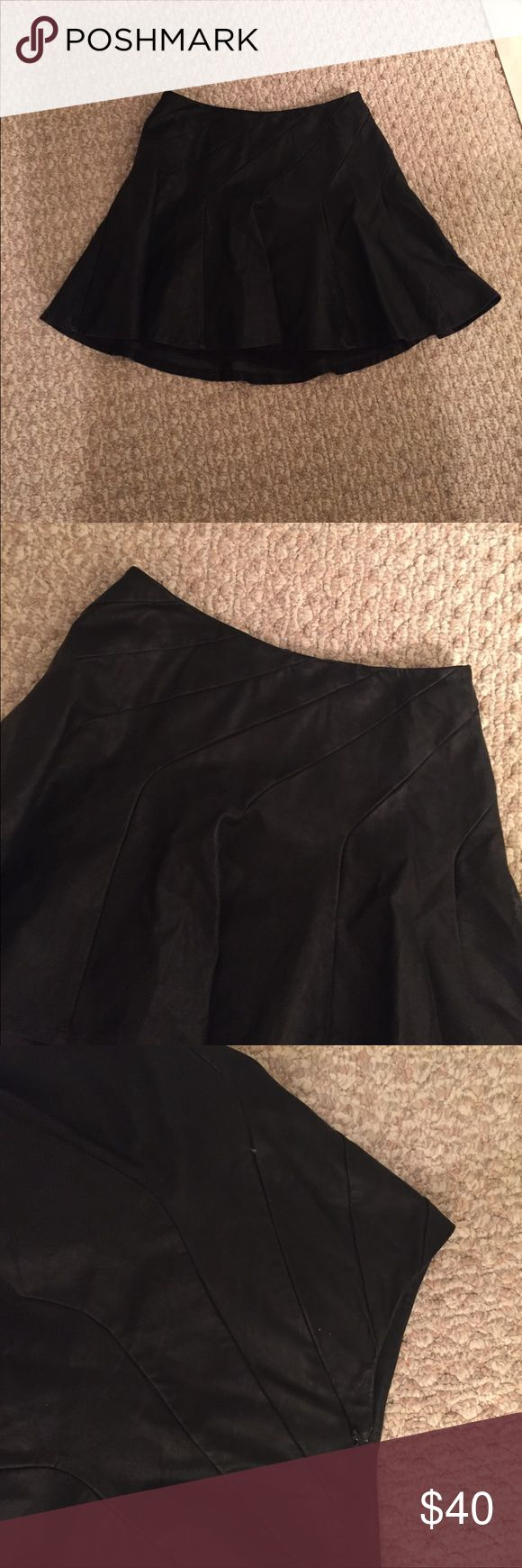 Free people leather skater skirt Black leather skater skirt. Side zip. Free People Skirts Circle & Skater