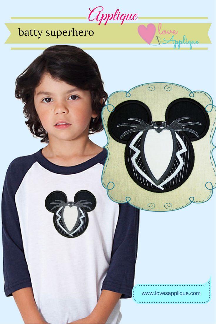 Mouse Ear Batman Applique. Disney Mouse ear Designs. Disney Batman Designs. Superhero Batman Applique, Superhero Party Ideas, www.lovesapplique.com