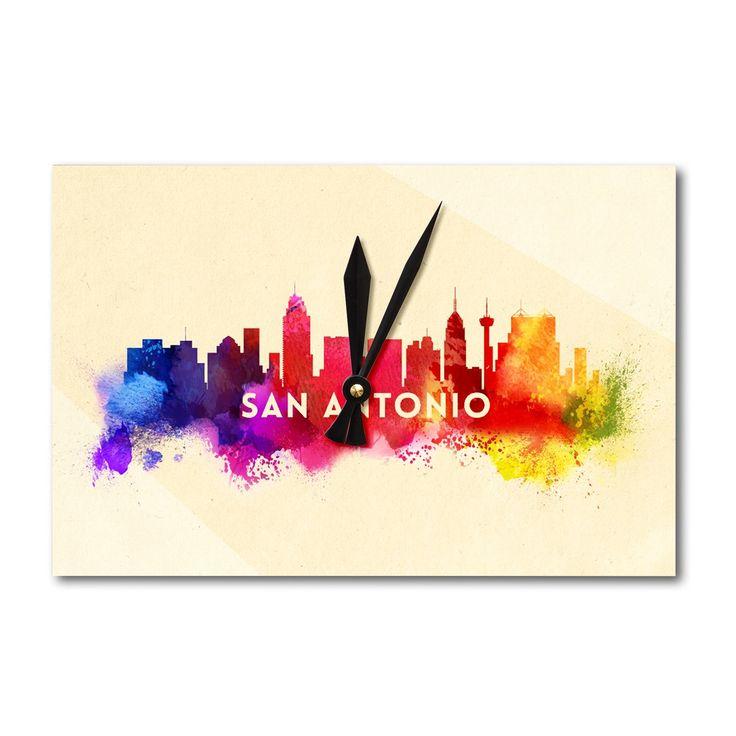 San Antonio, TX - Skyline Abstract - LP Artwork (Acrylic Wall Clock), Black (Plastic)