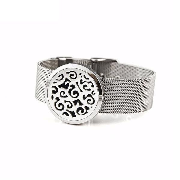 Metal Mesh Band Abstract Scroll Aromatherapy Diffuser Locket Bracelet