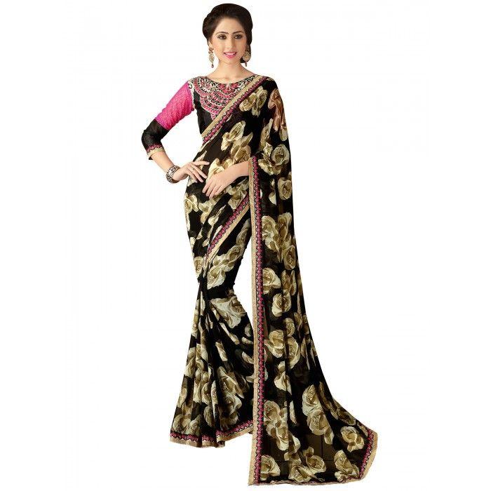 Latest Black & Beige Printed Saree on SmartDeals4u.com