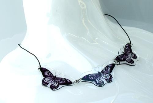 collana 3 elementi farfalla viola