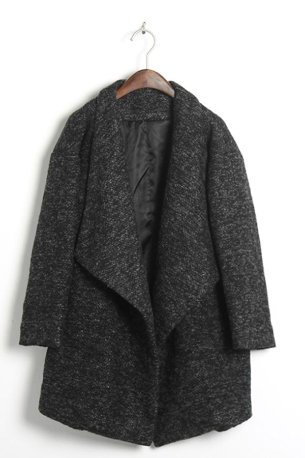 Oversized Lapels Tweed Coat