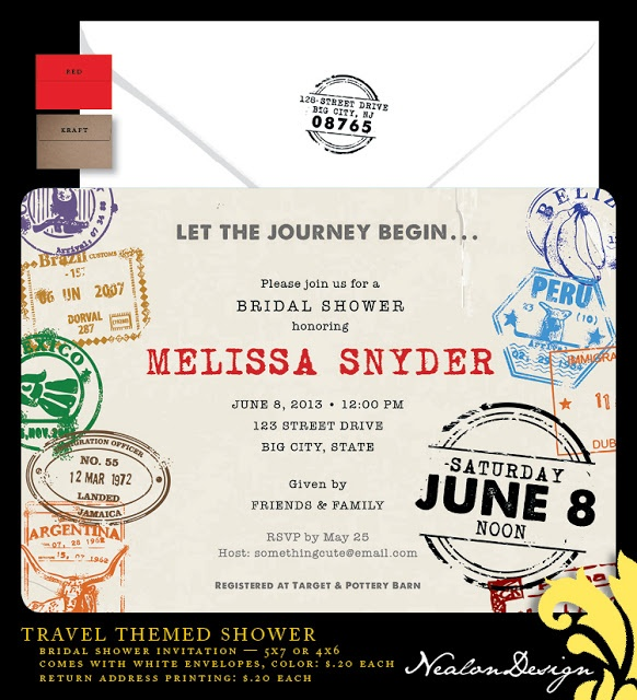 Nealon Design: Travel Bridal Shower Invitation