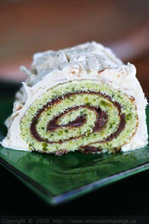 Interesting take on the traditional yule log! -- Chocolate Shavings: Chocolate and Pistachio Yule Log