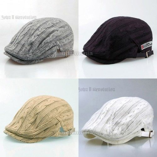 Knit Flat Cap Hat for Winter Newsboy Beret Golf Driving Cabbie Hunting Hats Caps