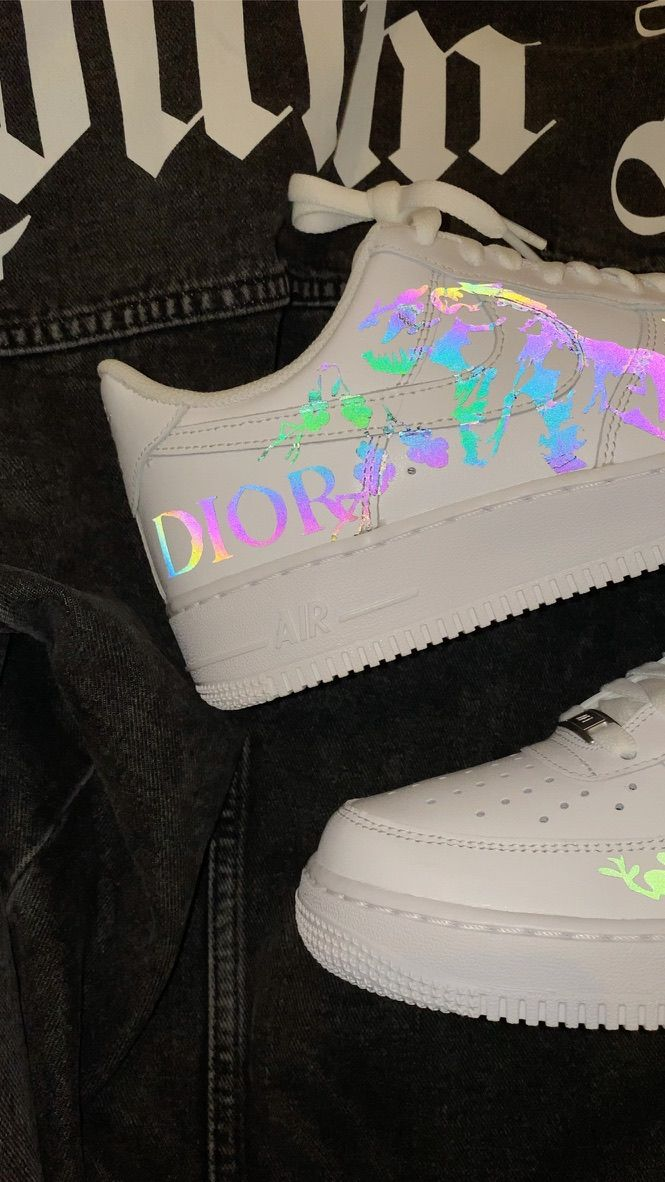 DIOR REFLECTIVE AIRFORCE 1 CUSTOM in 2020 Hype shoes