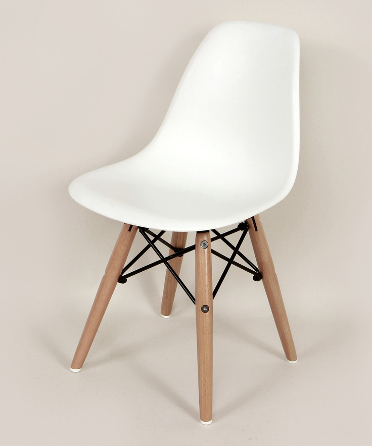 White Wood Mid-Century Side Chair - Kids
