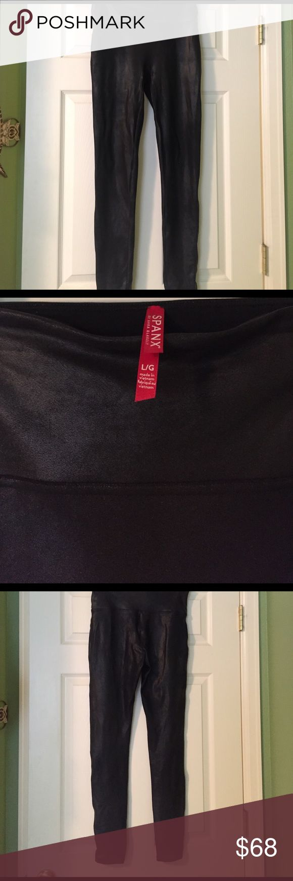 Large Spanx Leather Leggings These aren't real leather but certainly look like it on! Nice way to dress up leggings. SPANX Pants Leggings