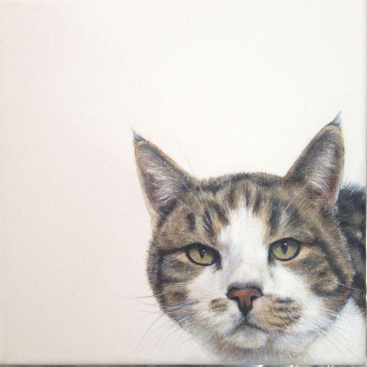 Tabby Cat Pet Portrait by Charles Hannah - painting - oil on canvas. Facebook - Charles Hannah Art & Design.