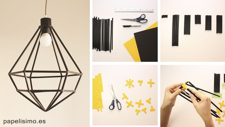 Lo mejor de esta lámpara de diseño es que está elaborada... ¡con pajitas! Es muy fácil, barata y el resultado es genial. ¡Toma nota de los pasos!
