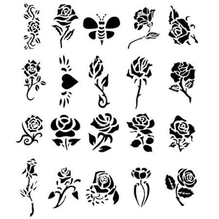 Airbrush Tattoo Stencil Set Book Of 20 Rose Design Template Flower