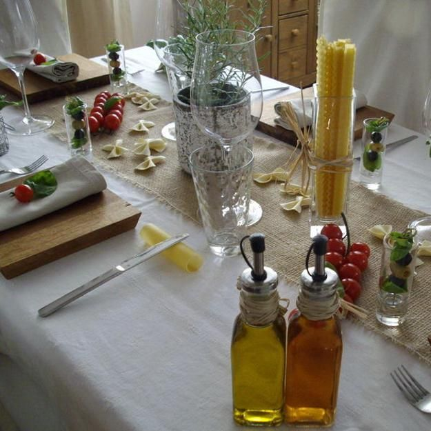 party table decoration ideas celebrating italian theme with red and green colors
