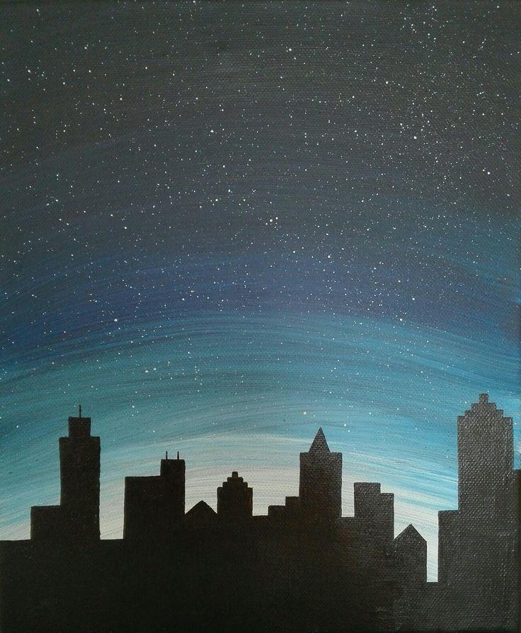 Nightsky, big city, nightcity, stars, painting