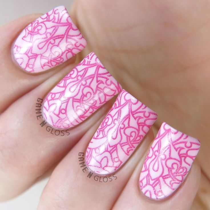 Gorgeous feminine pink themed nail art stamping using Delush Polish's Swirls & Twirls stamping plate.
