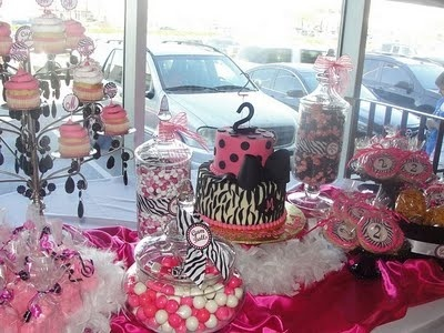The Amazing Candy Buffets and Fun Food Designers of Sugar Bunch Creations: Jazzy Hot Pink  Black Zebra Candy Buffet Birthday Party