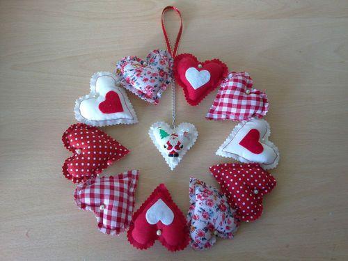 Handmade fabric heart Christmas wreath Santa & holly shabby chic unique gift | eBay