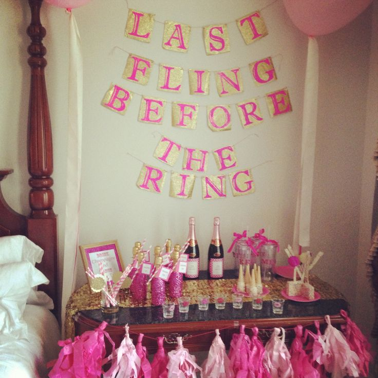 Bachelorette party setup! Sparkled mini champagne bottles, monogrammed tumblers and shot glasses, sprinkled goodies to eat, etc. etc... love!