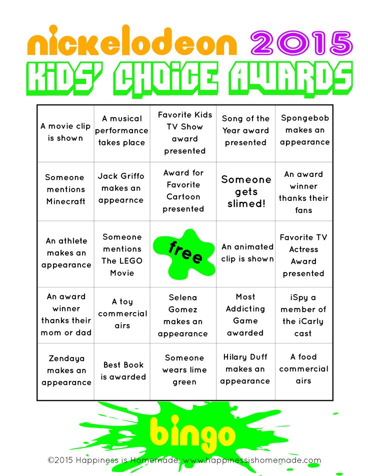 Nickelodeon Kid's Choice Awards Bingo - free printable game to play along while you watch the show! #SlimeOn #ad