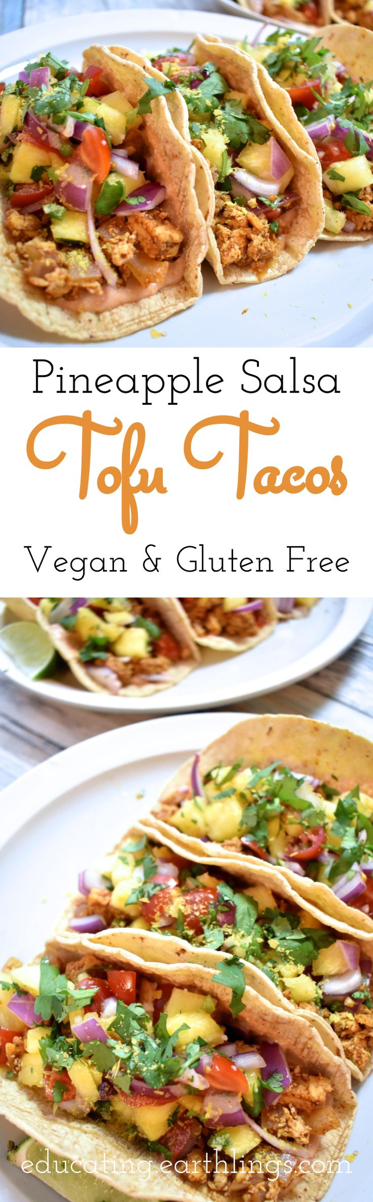 7 ingredient Pineapple Salsa & simple tofu taco recipe! This pineapple salsa is perfect to eat alone or with vegan tacos! vegan recipes, plant based tacos, pineapple tacos, raw salsa, simple salsa, summer salsa recipes, summer party recipes, summer recipes