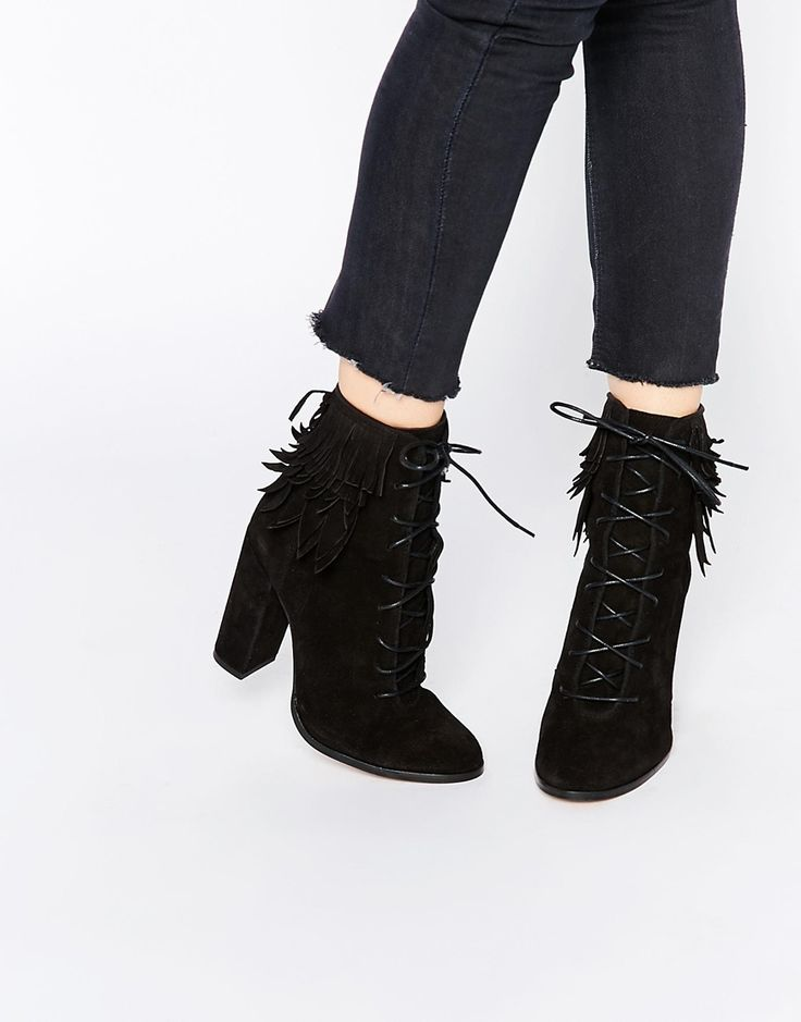 Image 1 ofRiver Island Real Suede Lace Up Heeled Boot