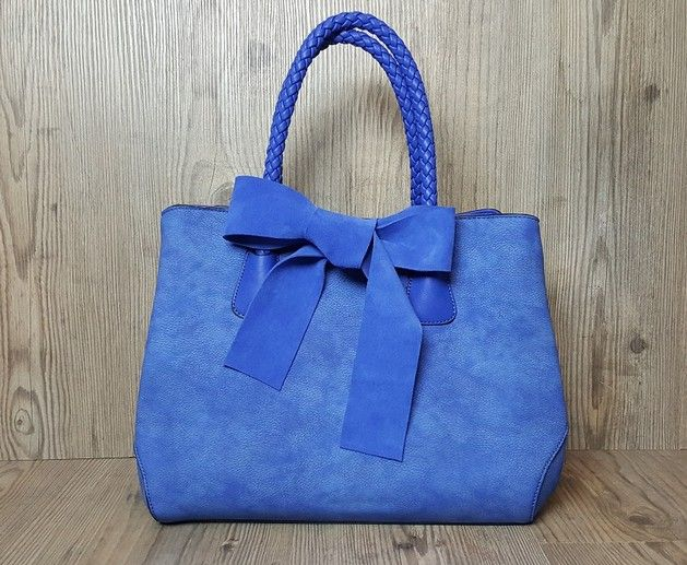 Blauwe Handtas met Suede Strik - FS1-1015