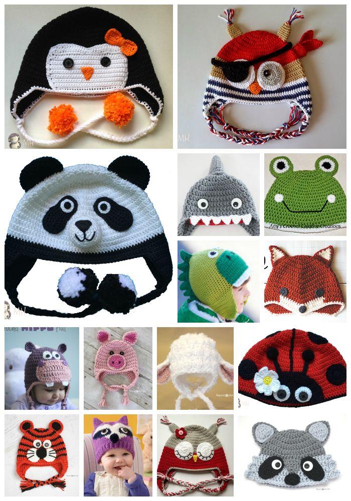 Gorros de animalitos a crochet con patrón