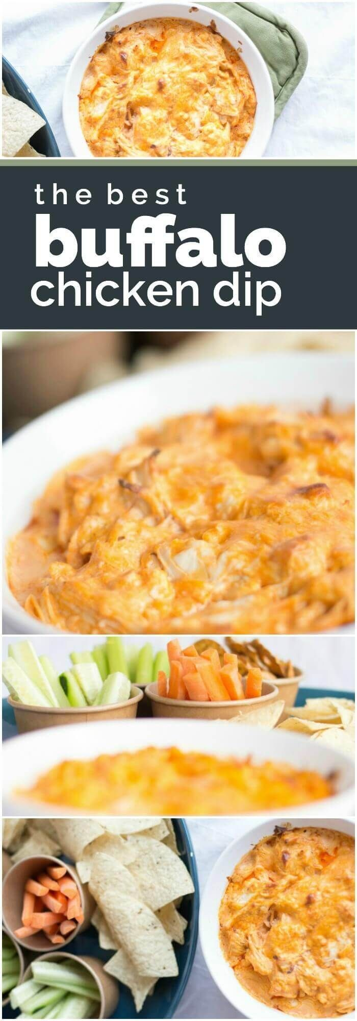 This Buffalo Chicken Dip Recipe is easy to make and delicious -- the perfect appetizer idea for your party! (Dip Recipes)