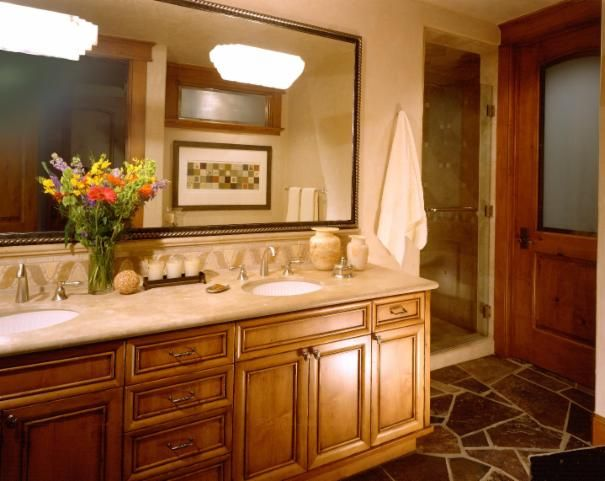 Photo of Brown Traditional Bathroom project in Truckee, CA by Alison Whittaker Design Inc